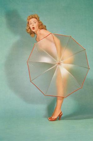 Naked Lady Hiding Behind Transparent Umbrella