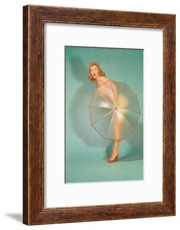 Naked Lady Hiding Behind Transparent Umbrella--Framed Art Print