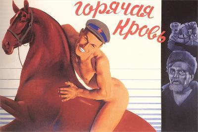 Naked Man on Horse--Art Print