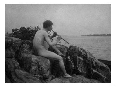 Naked Man Playing His Pipe Photograph-Lantern Press-Art Print