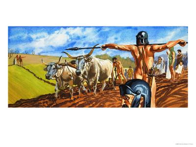 Naked Soldier Guards Men and Women Toiling in Fields--Giclee Print
