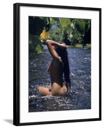 Naked Tahitian Woman Bathing in a River--Framed Photographic Print