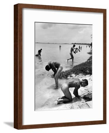 Naked Us Soldiers Bathing in the Pacific Ocean During a Lull in the Fighting on Saipan-Peter Stackpole-Framed Premium Photographic Print