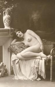 Naked Woman by Fireplace
