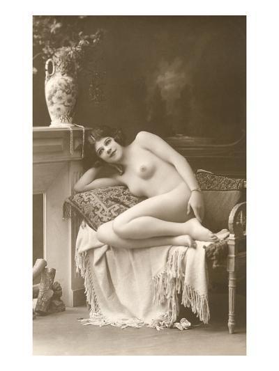 Naked Woman by Fireplace--Art Print