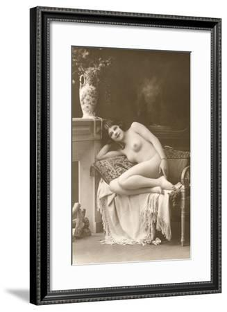 Naked Woman by Fireplace--Framed Art Print