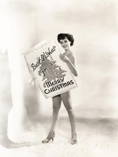 Naked Woman Covered by a Giant Christmas Card--Photo