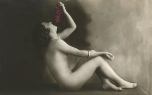 Naked Woman Eating Grapes