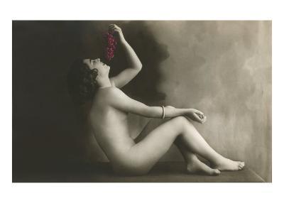 Naked Woman Eating Grapes--Art Print