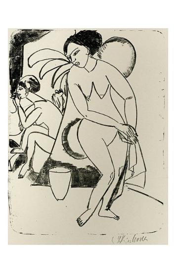 Naked Woman in the Studio-Ernst Ludwig Kirchner-Art Print