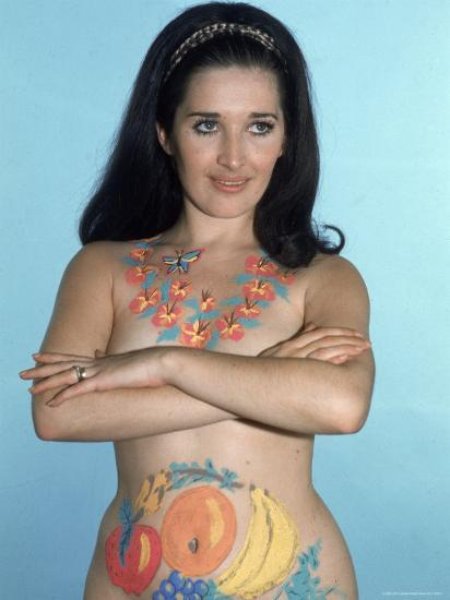 Naked Woman Models Body Paint Consisting Of Lei Around Her Neck And Pieces Of Fruit On Abdomen Photographic Print By Ralph Crane Art Com