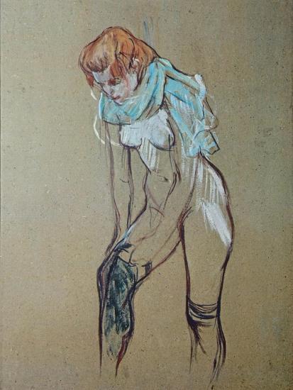 Naked Woman Putting a Stocking On-Henri de Toulouse-Lautrec-Art Print