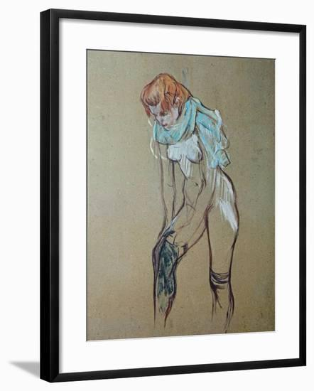 Naked Woman Putting a Stocking On-Henri de Toulouse-Lautrec-Framed Art Print