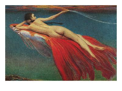 Naked Woman Riding Large Gold Fish--Art Print