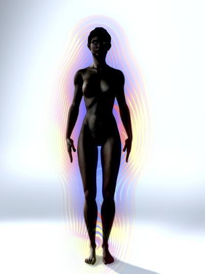 Naked Woman's Body with Aura, Artwork-Christian Darkin-Photographic Print