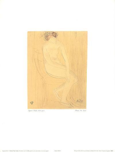 Naked Woman Sitting-Auguste Rodin-Art Print