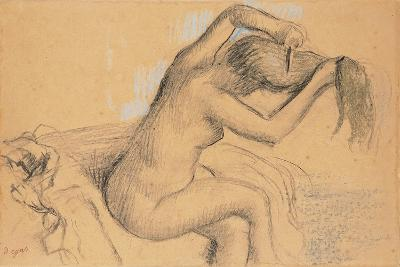 Naked Woman Styling Her Hair; Femme Nue Se Coiffant-Edgar Degas-Giclee Print