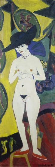 Naked Woman with a Hat, about 1911-Ernst Ludwig Kirchner-Giclee Print