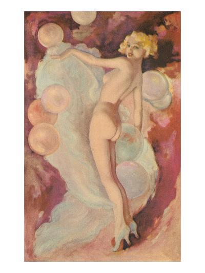 Naked Woman with Clouds and Balloons--Art Print