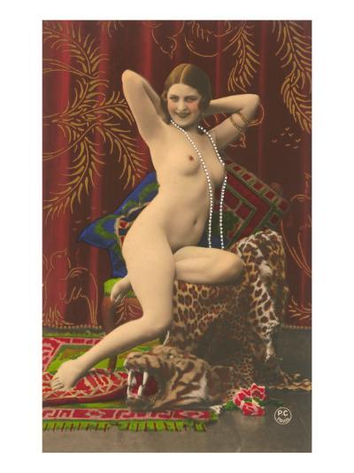 Naked Woman with Pearls--Art Print