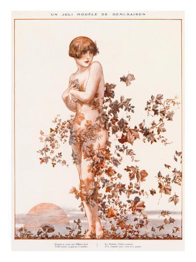 Naked Young Woman with Autumn Leaves Swirling around Her--Giclee Print