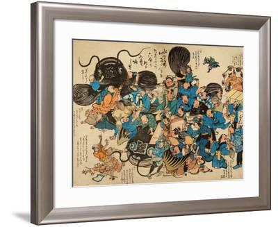 Namazu Being Attacked by Peasants--Framed Giclee Print