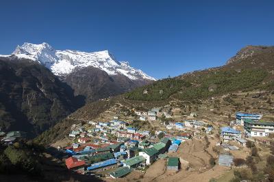 Namche, the Main Trading Centre and Tourist Hub for the Khumbu (Everest Region) with Kongde Ri Peak-Alex Treadway-Photographic Print