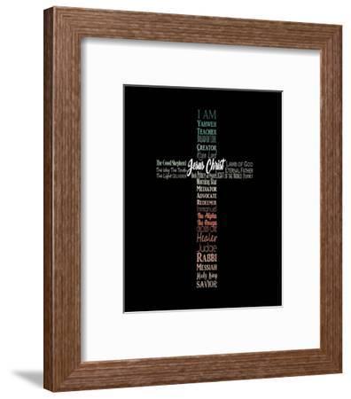 Names of Jesus Cross Silhouette Green Ombre-Inspire Me-Framed Art Print