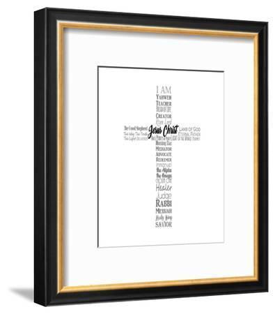 Names of Jesus Cross Silhouette White-Inspire Me-Framed Art Print