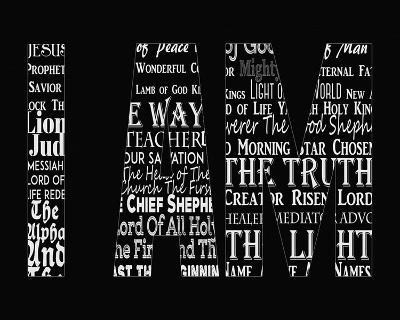 Names of Jesus I AM Silhouette Black-Inspire Me-Art Print