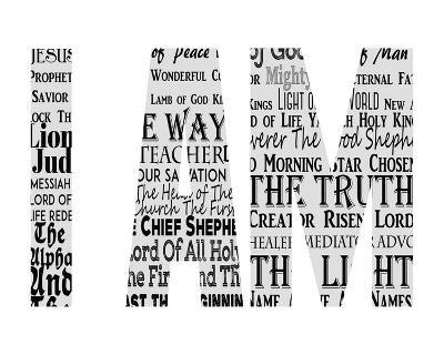 Names of Jesus I AM Silhouette White-Inspire Me-Art Print