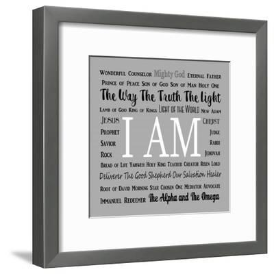 Names of Jesus Square Black and White Text-Inspire Me-Framed Art Print