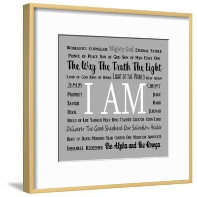 Names of Jesus Square Black and White Text-Inspire Me-Framed Art Print