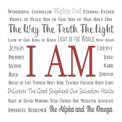 Names of Jesus Square Gray and Red Text-Inspire Me-Art Print