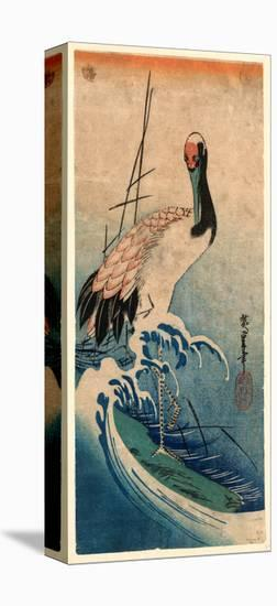 Nami Ni Tsuru, Crane in Waves. [Between 1833 and 1835], 1 Print : Woodcut, Color ; 37.4 X 16.5-Utagawa Hiroshige-Stretched Canvas Print