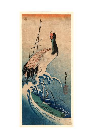 Nami Ni Tsuru, Crane in Waves. [Between 1833 and 1835], 1 Print : Woodcut, Color ; 37.4 X 16.5-Utagawa Hiroshige-Giclee Print