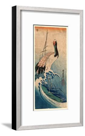 Nami Ni Tsuru, Crane in Waves. [Between 1833 and 1835], 1 Print : Woodcut, Color ; 37.4 X 16.5-Utagawa Hiroshige-Framed Giclee Print