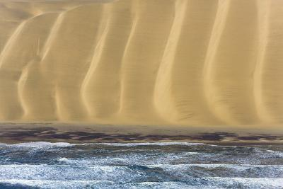 Namibia. Aerial of Namibian Sand Dunes Meeting the Atlantic Ocean-Janet Muir-Photographic Print