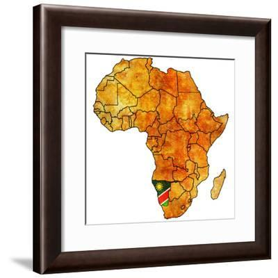 Namibia on Actual Map of Africa-michal812-Framed Premium Giclee Print