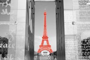 Color Pop, Eiffel Tower Paris France, Living Coral by Nan