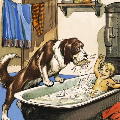 Nana Baths Michael, Illustration from 'Peter Pan' by J.M. Barrie-Nadir Quinto-Giclee Print