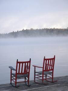 Two Red Rockers on Dock at Sunrise, Lake Mooselookmegontic, Maine by Nance Trueworthy