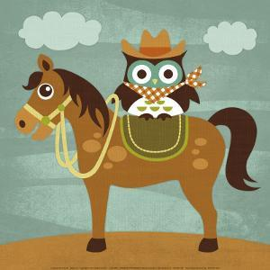 Cowboy Owl on Horse by Nancy Lee