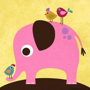 Elephant with Birds by Nancy Lee