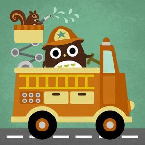 Owl in Firetruck and Squirrel by Nancy Lee