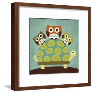 Three Owls on Turtle by Nancy Lee