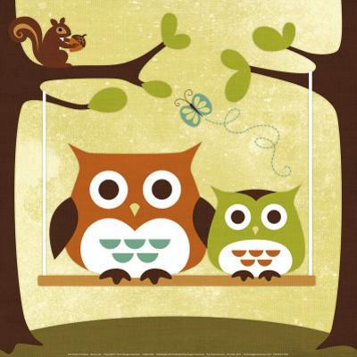 Two Owls on Swing by Nancy Lee