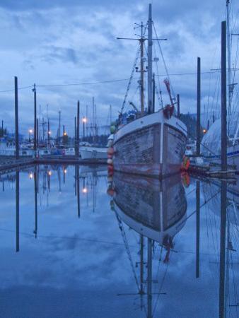 Boats in Harbor at Twilight, Southeast Alaska, USA