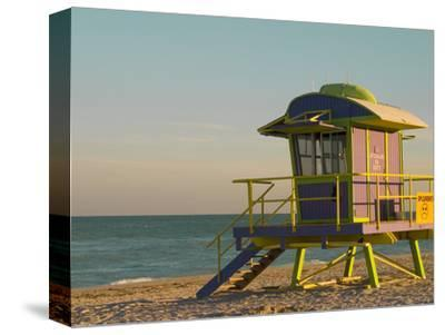 12th Street Lifeguard Station at Sunset, South Beach, Miami, Florida, USA