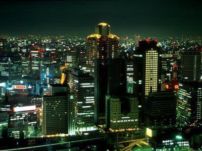 Aerial View of Downtown Skyline, Osaka, Japan